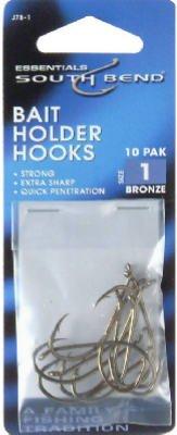 South Bend J-78-1 Size 1 Bait Holder Hooks - 10 Pack Pack Of 12