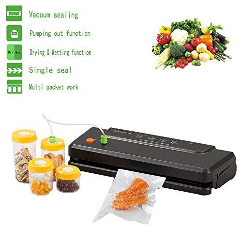 Obecome Vacuum SealerMultifunction Automatic Food Sealers Vacuum Packing Machine with Starter KitIncluded sealing BagsVacuum Hose Black