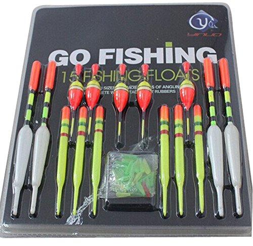 Fishing Floats Emubody 15PCS Fishing Float Tubes Assorted Sizes Fishing Lure Floats 15PCS SET