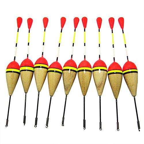 LSERVER 10 Pcs Fishing Bobber Cork Float Antenna Balsa Wood