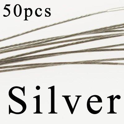 Fishing Hooks Freshwater - Saltwater Fishing Tackle - 50PCS Steel Wire Leader Rope Fishing Line Lure Leader Swivel Interlock Snap Anti-bite Line fishing hooks 1618222528cmSilver 28cm