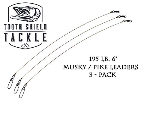 Tooth Shield Tackle 195 lb 6 3 Pack Premium Stainless Steel Solid Wire Musky Pike Leader Jerk Bait Bucktail