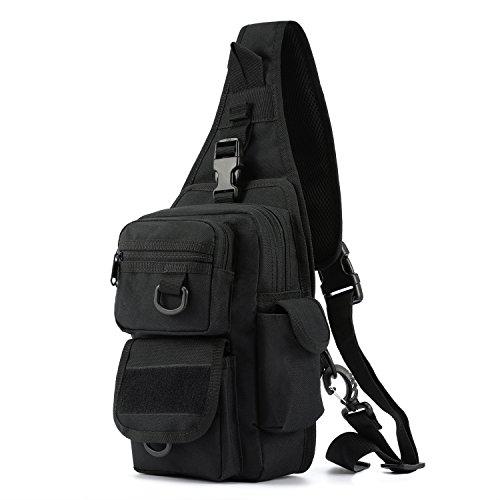 Barbarians Tactical Sling Bag Pack with Pistol Holster Military Shoulder Bag Satchel Range Bag Daypack Backpack Black