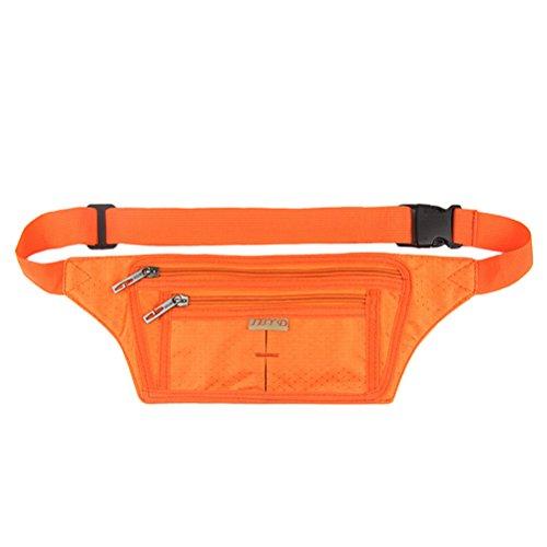 Polyester Water Resistant Casual Multifunctional Adjustable Strap Waist Bag Packs Orange