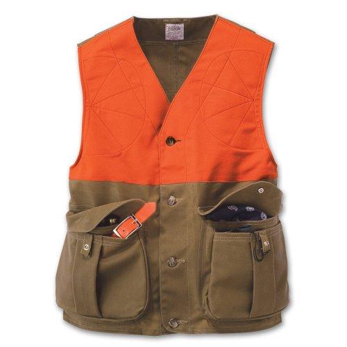 Filson 16025 Tin Cloth Upland Hunting Vest XX-Large Blaze OrangeTan