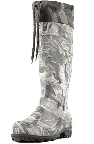 Alisa Mens 16 Insulated Hunting Camo Waterproof Rubber Boots 10 Camo Khaki