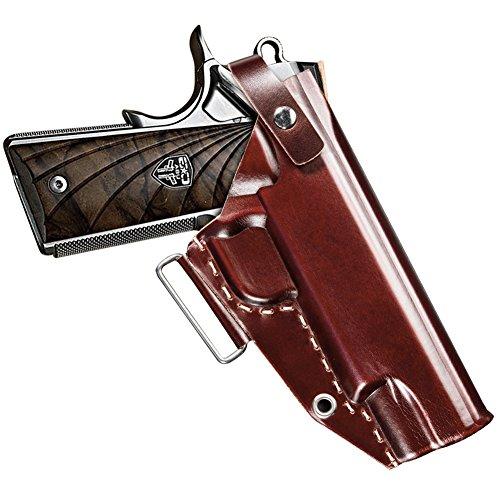 1911 Holster Fnova OWB Gun Holster for 1911 Style Handgun Ultimate Leather Handmade Waistband Belt Holster Fits Colt Kimber Para Springfield Red-brown Right Handed