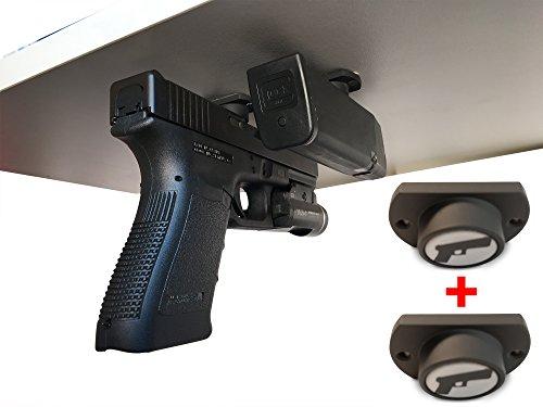 2-Pack  Gun Magnet w Adhesive Backing  Car Holster  Bedside Holster  Steering Wheel Gun Holster  Under The Desk Pistol Holster  Gun Holsters For Cars  Vehicle Gun Mount  Pistol Holster In Car