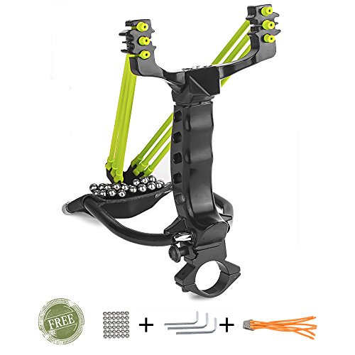 Wisdoman Professional Slingshot Stainless Steel Outdoor Hunting Sling Shot High Velocity Catapult with 2 Rubber Bands and 50 Extra Slingshot Ammo