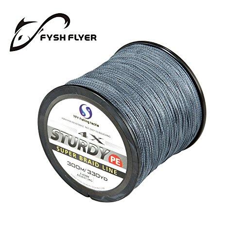 FyshFlyer STURDY 4X-PE Braided Fishing Line - 300M330 Yard Premium Quality Super Power Cut Resistant - Grey Line