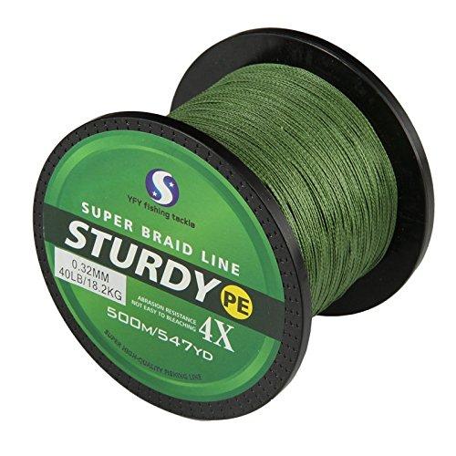 FyshFlyer STURDY 4X-PE Braided Fishing Line - 500M547 Yard Premium Quality Super Power Cut Resistant - Green