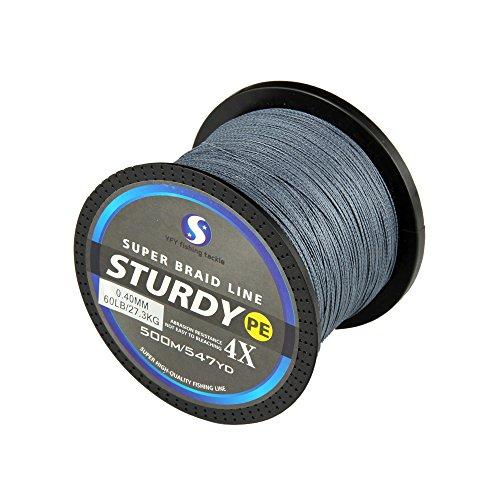 FyshFlyer STURDY 4X-PE Braided Fishing Line - 500M547 Yard Premium Quality Super Power Cut Resistant - Grey