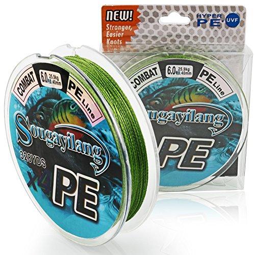 Sougayilang Braided Fishing Line 12-73LB Text Green 100 PE Superbraid Lines