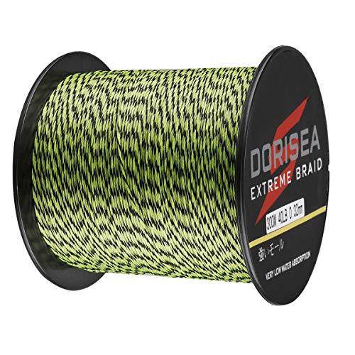 Dorisea Extreme Braid 100 Pe Multi-ColorFluorescent Green&Black Braided Fishing Line 109Yards-2187Yards 6-550Lb Test Fishing Wire Fishing String Superline