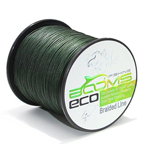 Booms Fishing ECO 100 UHMWPE Braided Fishing Line 500 Yard Green 12 Lb 1ALSTGN50012