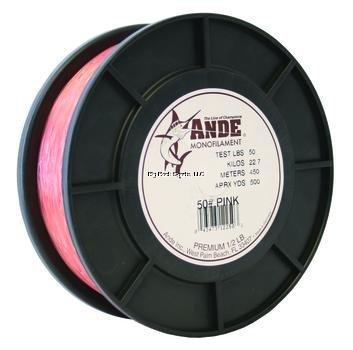 Ande Premium Monofilament - 12 lb Spool - 50lb Test - Pink