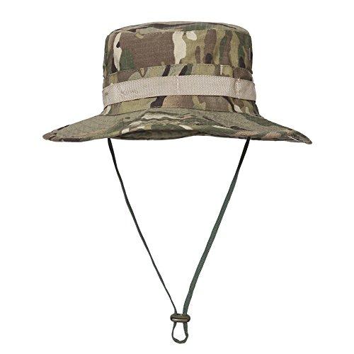TACVASEN Unisex Cotton Blend Boonie Fishing Bucket Men Safari Summer String Hat Cap CP