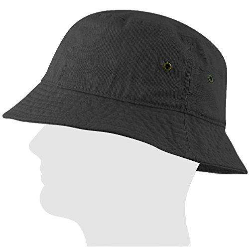 USBingoshop Men Women Unisex 100 Cotton Plain Color Boonie Safari Fishing Bucket Hat Cap 100 Cotton SmallMedium 05-Charcoal