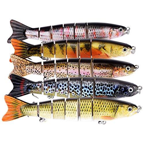 BOMSO 1pc Fishing Lure 6 Segment Lifelike Trouts Swimbait Multi Jointed Artificial Bait Crankbait Hard Bait High Carbon Steel Treble Hook ColorE
