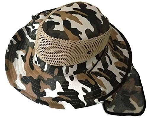 One X Camouflage Hat with Mesh Neck Protector  Safari Hat  Hiking Hat  Wide Brimmed Boonie Hat  Fishing Hat  Hunting Hat  Jungle Hat  Mens and Womens Sun HAT with Neck Flap  Brown Camo