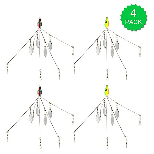 Lixada 5 Arms Alabama Umbrella Rigs with Barrel Swivels Fishing Lures Bait Rigs for Bass 4 Pcs