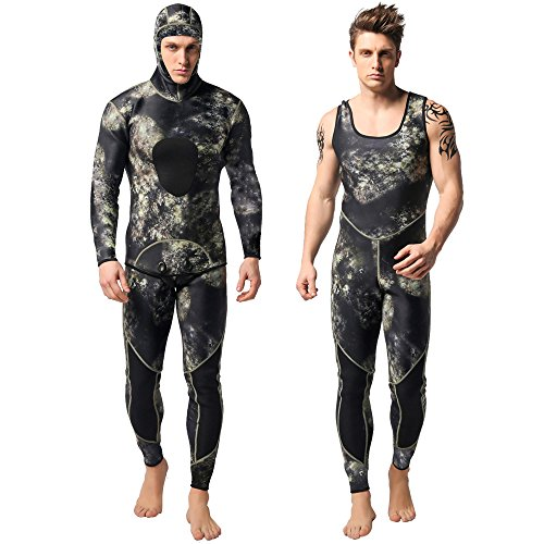 Nataly Osmann Camo Spearfishing Wetsuits Mens 3mm Premium Neoprene 2-Pieces Hooded Super Stretch Diving Suit