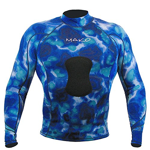 Wetsuit Shirt Spearfishing Blue Camouflage Lycra Long Sleeve - 15mm