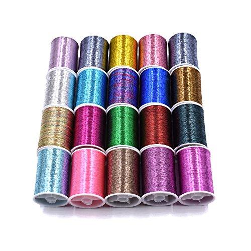 20 Spools Assorted Colors Flash Tinsel Thread Fly Tying Materials 20 Spools Mixes Colors