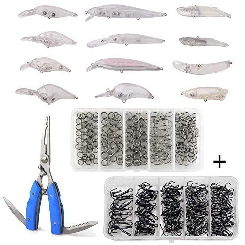 Blank Lures Unpainted Crankbait Lures Kits 313Pcs Including Fishing Treble Hooks Set Split Rings Kit Fishing Pliers Scissors DIY Hard Bait Fishing Tackle