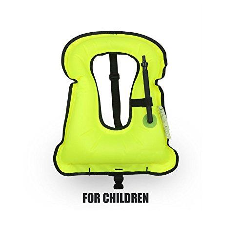 Rrtizan Children Portable Inflatable Life Jacket Snorkel VestSwimming Life Vest For Boys Girls