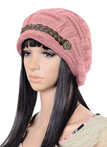 UZZO™ Fashion woman lady girl warm flexible handmade Knitted Crochet Baggy Beret Cap Hat embellishment by one PU Braids for woman outdoor sportsPFree UZZO logo Key Ring
