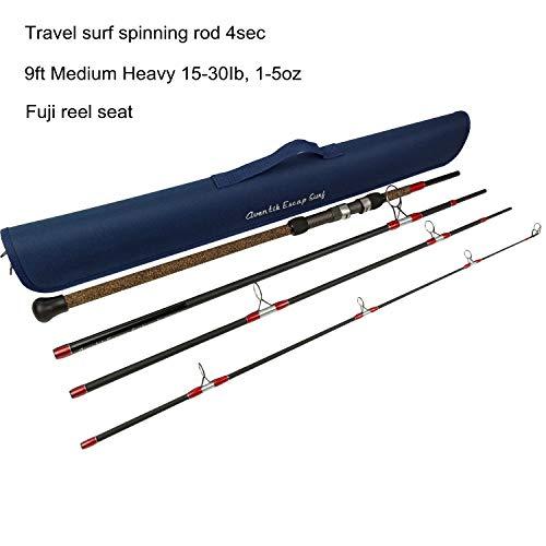 Aventik Escape 24T Carbon Travel Surf Spinning Rod 4 Pieces 9FT 274m Medium Heavy 15-30Ib 1-5oz Travel Bag 9FT Medium Heavy 15-30Ib 1-5oz