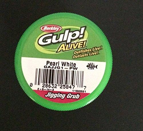 Gulp Alive Berkley 15 inch Pearl White Jigging grubs 2 jar Bundle ice Fishing Lures panfish Bait Crappie Bait Gulp Jigging grubs
