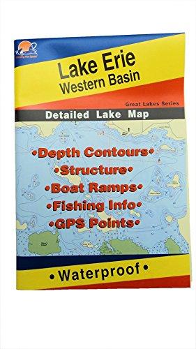Lake Erie Western Basin Map GPS Points Waterproof Detailed Lake Map - L127