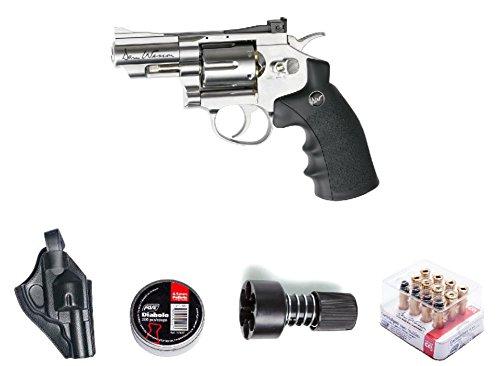 ASG ASG18101Kit-B Dan Wesson Revolver Pellet Air Gun with HolsterCartridgesExtra BBS& Speed Loader Silver 25