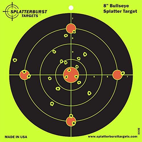 Splatterburst Targets - 8 inch Bullseye Reactive Shooting Target - Shots Burst Bright Fluorescent Yellow Upon Impact - Gun - Rifle - Pistol - Airsoft - BB Gun - Pellet Gun - Air Rifle