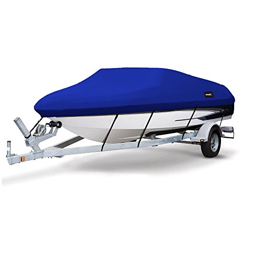 MSC Heavy Duty 300D Marine Grade Polyester Canvas Trailerable Waterproof Boat Cover Pacific BlueFits V-HullTri-Hull Runabout Boat CoverFull Size Boat Cover Pacific Blue Model A