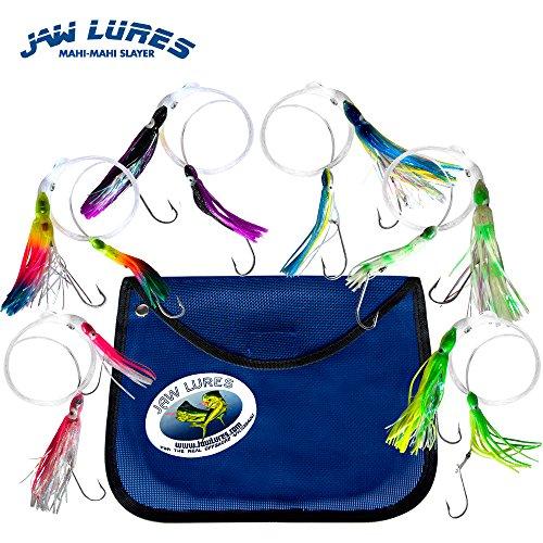 Jaw Lures Mahi-Mahi Slayer Lure Combo - Offshore Fishing Lures Specifically Designed to Catch Mahi-Mahi Blackfin Tuna Yellowfin Tuna and Sailfin - 6 Pack of Ocean Lures With Mesh Bag