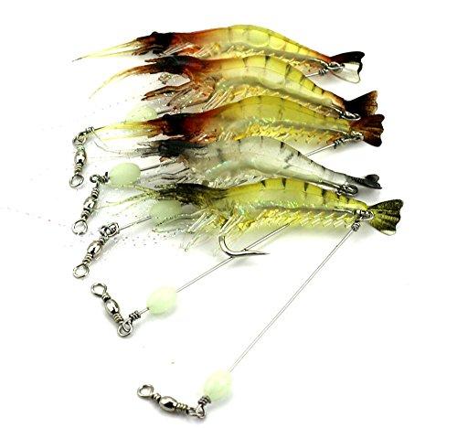 Hengjia 6pcslot luminous shrimp soft pike fishing lures wobble bass fishing baits pesca fishing tackles 75cm 66g