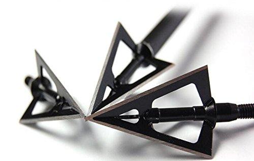 GPP 12pcs Black Laser Welded Broadheads 100 Grain Traditional Hunting Arrow Head Broadhead