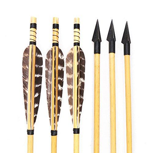 Huntingdoor Wooden Shaft Arrows Hunting Arrows 150 Grain Broadhead Turkey Feathers Fletched 6Pcs