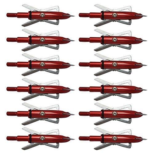 WillX New 100 Grain Hunting Red Broadheads Arrowhead Archery Arrowhead Crossbow Arrow Heads 12PCS