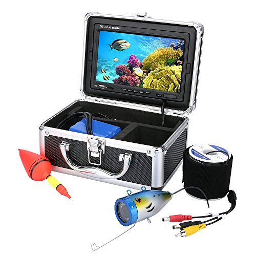 20M 1000TVL HD CAM Professional Fish Finder Underwater Fishing Video Recorder DVR 7 Color Monitor White LED Lights With 4GB SD card