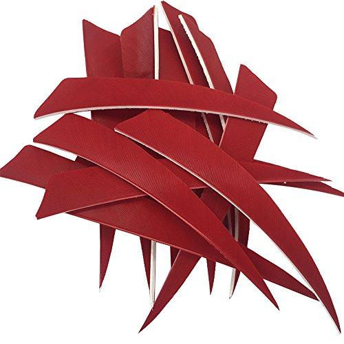 100PCS 5 Shield Cut Red RW Archery Arrow Fletches Feathers Fletchings