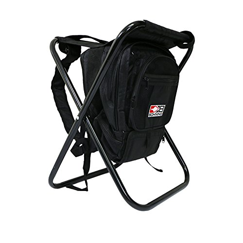 Bohning Camp StoolBackpack with Built-In Cooler Camp Stool Black