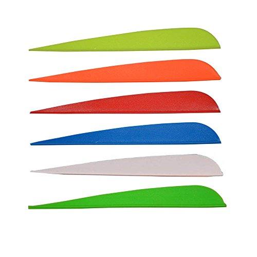 100pk 5 Inch Plastic Fletch Vanes Archery Arrow Fletching Parabolic Shape Randomly Color