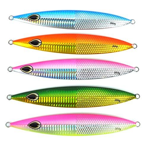 Aorace 5pcslot 200g Deep Sea Fishing Spoon Lure Metal Jig Lure Jigbait Spoon Fishing Treble Hook Spinner baits