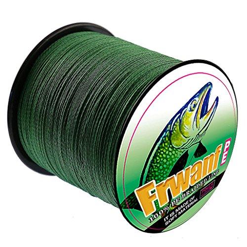 Frwanf Braid Fishing Line 1000M1093Yards Moss Green - 8 Strands Super Strong Multifilament Fishing Wire 300LB Test PE Fishing String for Freshwater&Saltwater Deep Sea Fishing Ice Fishing etc