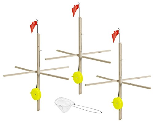 Celsius Ice Fishing ITU-3KIT Wood Tip-Up with Line Net3 Pack
