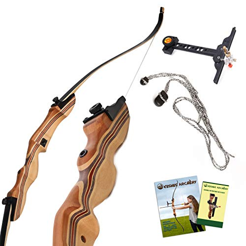 KESHES Takedown Hunting Recurve Bow and Arrow - 62 Archery Bow for Teens and Adults 15-55lb Draw Weight - Right and Left Handed Archery Set Bowstring Arrow Rest Stringer Tool Sight